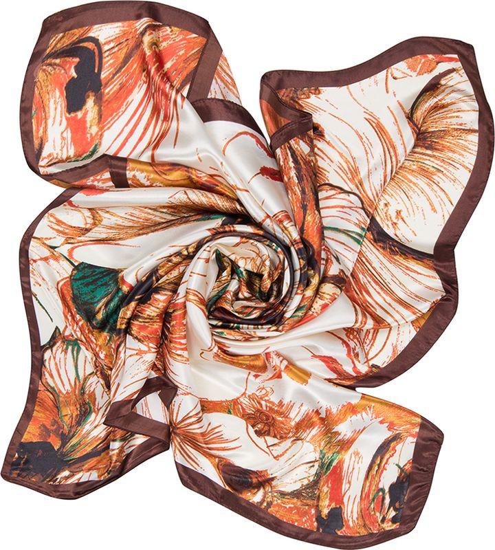 Платок женский Charmante, цвет: коричневый. SHPA275. Размер 90 см х 90 смSHPA275Платок с абстрактным цветочным принтом - верный аксессуар для завершения эффектного образа на каждый день. Приятная шелковистая текстура, красивое сочетание цветов, атласные переливы при драпировке - платок одинаково роскошно смотрится со многими вещами.