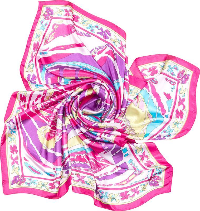 Платок женский Charmante, цвет: розовый. SHPA276. Размер 90 см х 90 смSHPA276Великолепная и незаменимая деталь гардероба любой женщины – элегантный и изящный шелковистый платок. Модель с фантазийным нарядным принтом - верный аксессуар для завершения эффектного образа на каждый день.
