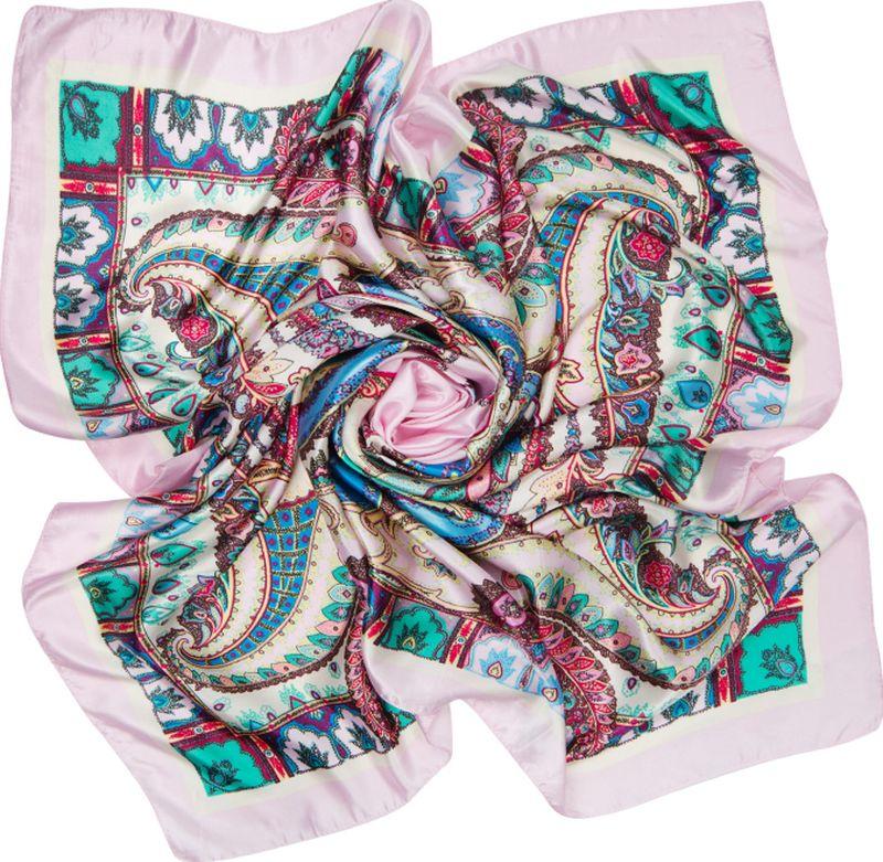 Платок женский Charmante, цвет: розовый. SHPA280. Размер 90 см х 90 смSHPA280Яркий платок с шелковым отливом, восточными узорами и полями – для любого времени года. Украсит однотонный наряд. Края платка обработаны машинным швом. Платок не мнется, не теряет яркости и не садится после стирок.