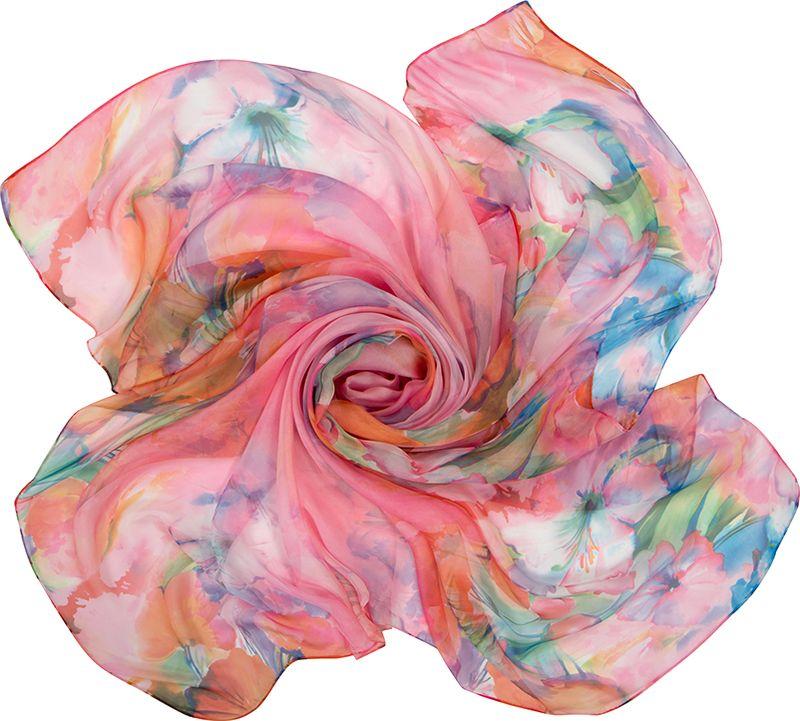 Платок женский Charmante, цвет: розовый. SHPF301. Размер 140 см х 140 смSHPF301Легкий воздушный платок с акварельными цветочными рисунками. Аксессуар не мнется и прекрасно драпируется, создавая красивые переливы цвета. Края обработаны машинным швом. Универсальный предмет женского гардероба.