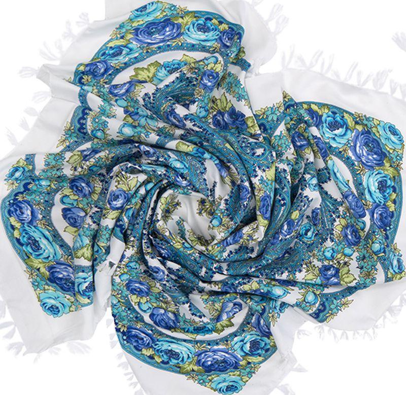 Платок женский Charmante, цвет: белый, синий. SHVIST350. Размер 92 см х 92 смSHVIST350Мягкий и уютный платок из вискозы с добавлением шерсти не только подчеркнет стиль, но и согреет вас в прохладную погоду. Платок выполнен в сочетании цветочного принта и восточного узора пейсли. Края подшиты и декорированы кисточками, углы – подвесными кистями.