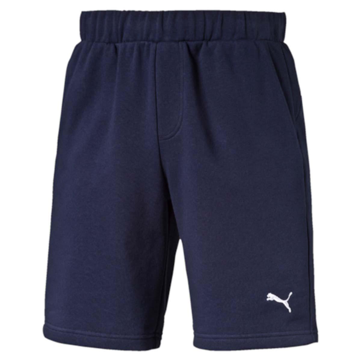 Шорты мужские Puma Ess Sweat Shorts 9, цвет: синий. 838260_06. Размер S (46/48)838260_06Шорты ESS Sweat Shorts 9, выполненные из хлопка и полиэстера, прекрасно подойдут для ежедневного использования, а также для тренировок. Шорты декорированы вышитым логотипом PUMA. Среди других отличительных особенностей изделия - пояс из его основного материала с продернутым затягивающимся шнуром, карманы в швах, а также нашитая сверху задняя кокетка для лучшей посадки по фигуре.