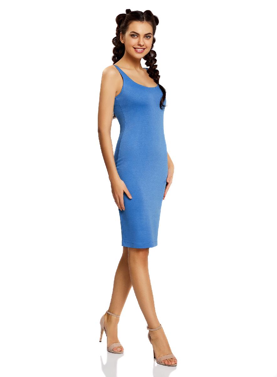 Платье14015007-4B/45456/4D00NЛегкое обтягивающее платье oodji Ultra, выгодно подчеркивающее достоинства фигуры, выполнено из качественного трикотажа. Модель миди-длины с круглым вырезом горловины и узкими бретелями дополнена разрезом на юбке с задней стороны.
