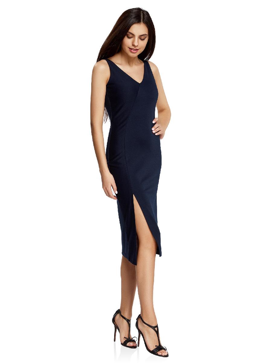 Платье oodji Ultra, цвет: темно-синий. 14015014/37809/7900N. Размер XS (42-170)14015014/37809/7900NСтильное платье с вырезом на спине oodji Ultra выгодно подчеркнет достоинства фигуры. Модель ассиметричного кроя с открытыми плечами и V-образным вырезом горловины застегивается на скрытую застежку-молнию на спинке. Спереди подол платья дополнен разрезом.