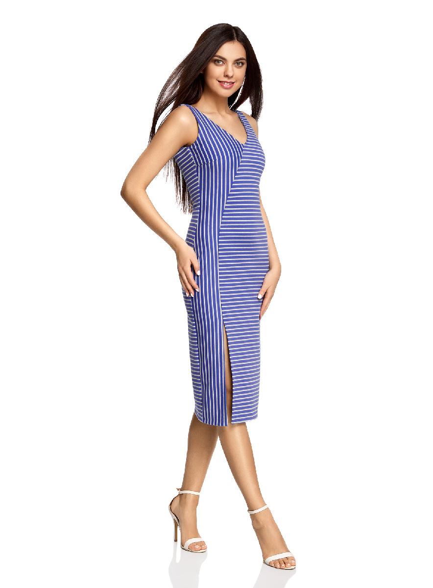 Платье oodji Ultra, цвет: светло-серый, синий. 14015014/37809/2075S. Размер XXS (40-170)14015014/37809/2075SСтильное платье с вырезом на спине oodji Ultra выгодно подчеркнет достоинства фигуры. Модель ассиметричного кроя с открытыми плечами и V-образным вырезом горловины застегивается на скрытую застежку-молнию на спинке. Спереди подол платья дополнен разрезом.