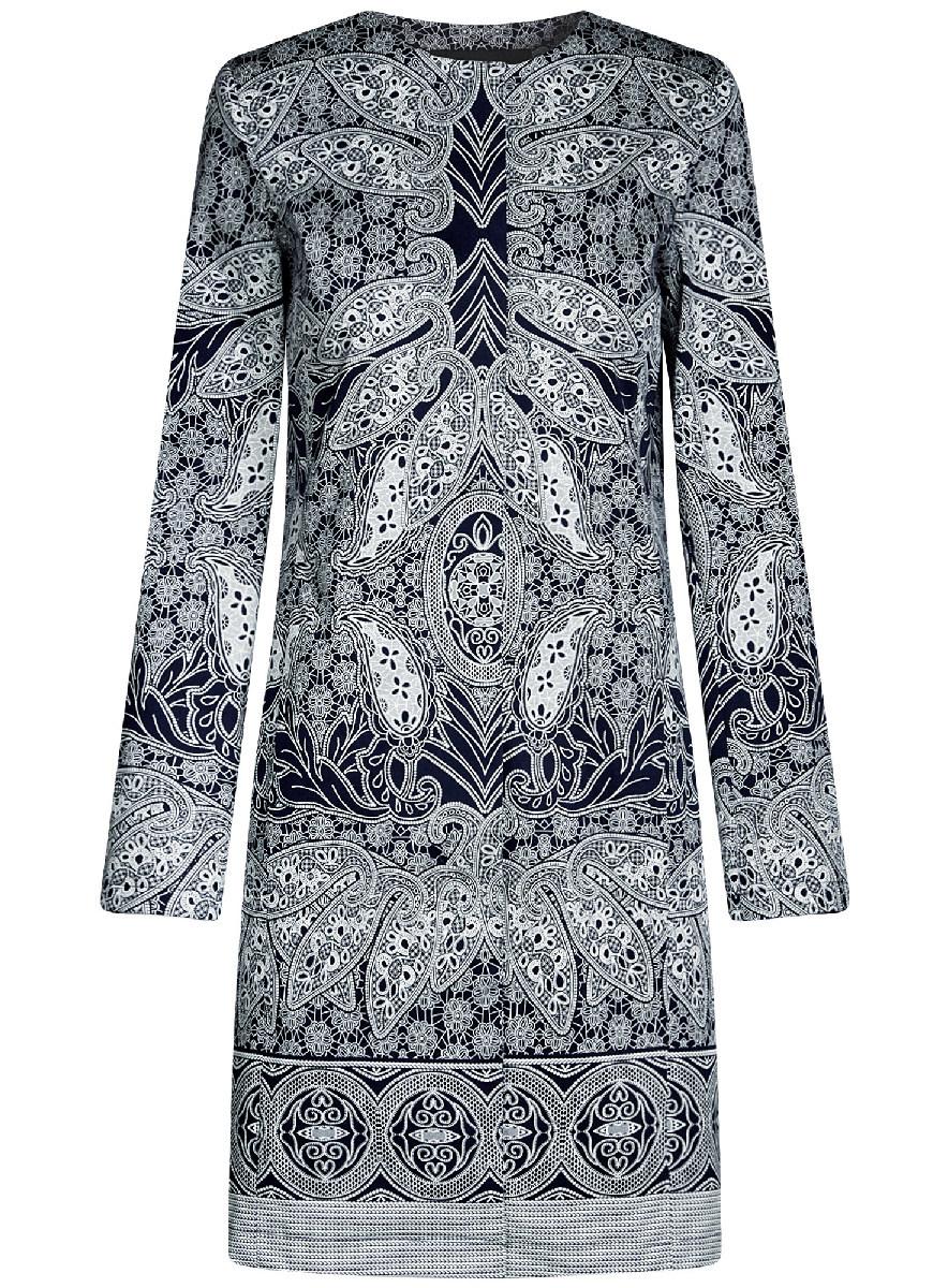 Пальто женский oodji Ultra, цвет: темно-синий, белый. 10403002-2/14522/7912E. Размер 42-170 (48-170)10403002-2/14522/7912EПлащ на кнопках принтованный