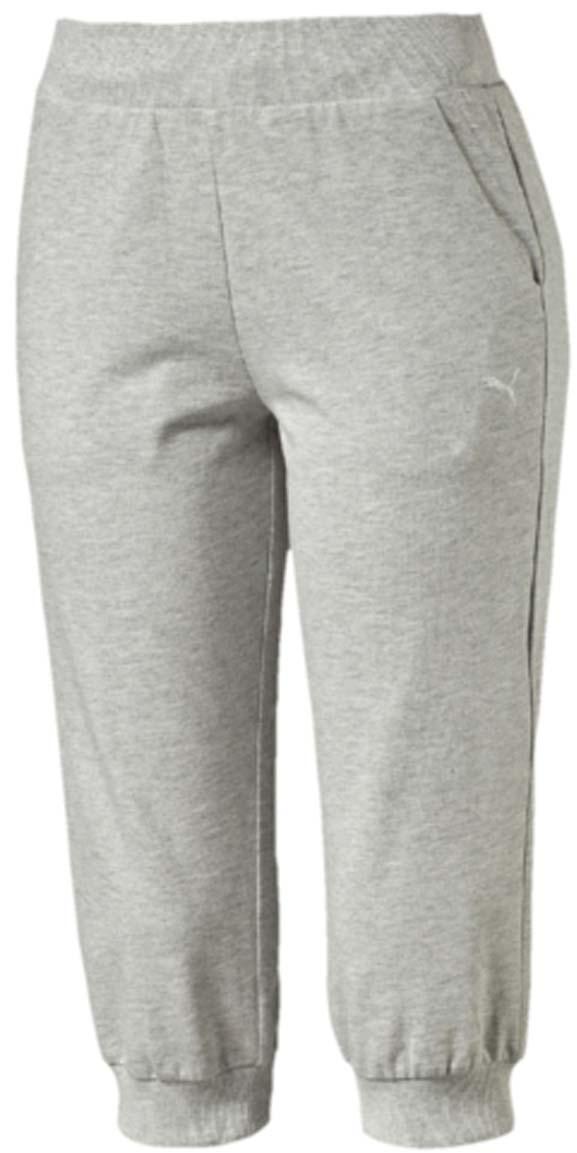 Капри женские Puma ESS Capri Sweat Pants W, цвет: серый. 83842404. Размер XL (48/50)83842404Капри ESS Capri Sweat Pants W изготовлены из хлопка с добавлением полиэстера. Модель декорирована вышитым логотипом PUMA. Среди других особенностей изделия - пояс из трикотажа в резинку с затягивающимся шнуром, боковые швы с нахлестом вперед и манжеты из трикотажа в резинку. Изделие имеет стандартную посадку.