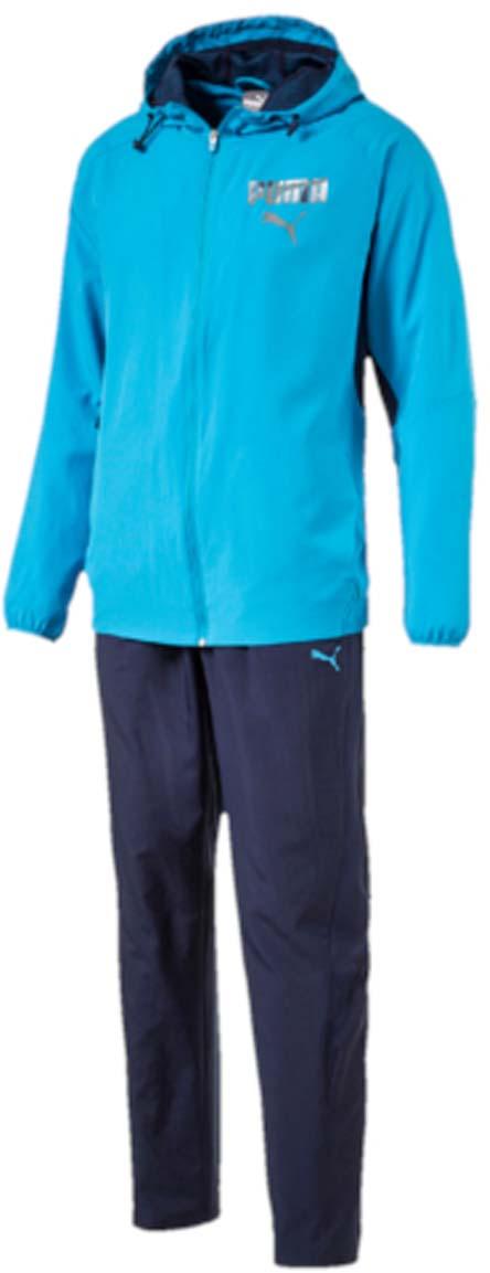 Костюм спортивный мужской Puma Active Hooded Graphic Suit, цвет: голубой, синий. 59090011. Размер S (46/48)59090011Костюм спортивный мужской Active Hooded Graphic Suit отлично подойдет для тренировок, он обеспечит свободу движений и комфорт во время занятий. Костюм выполнен из 100% полиэстера. Куртка застегивается на молнию, имеет воротник-стойку с капюшоном, длинные рукава и боковые карманы. Форма капюшона регулируется с помощью затягивающихся шнурков. Пояс и манжеты куртки отделаны эластичными резинками. В области подмышек предусмотрены сетчатые вставки для лучшей вентиляции. Брюки прямые, без манжет внизу, пояс брюк снабжен эластичным материалом с регулируемым шнуром. Сетчатые вставки по бокам штанин улучшают циркуляцию воздуха. Куртка декорирована графическим рисунком, нанесенным сочетанием пигментной и глянцевой печати. Брюки также декорированы логотипом PUMA.
