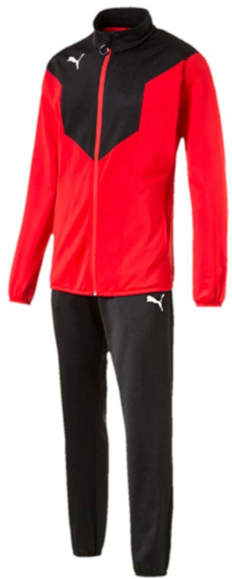 Костюм спортивный мужской Puma ftblTRG Poly Tracksuit, цвет: красный, черный. 655202_14. Размер M (48/50)655202_14Костюм спортивный мужской ftblTRG Poly Tracksuit отлично подойдет для тренировок, он обеспечит свободу движений и комфорт во время занятий. Куртка и брюки имеют стандартную посадку и изготовлены с использованием высокофункциональной технологии dryCELL, которая отводит влагу, поддерживает тело сухим и гарантирует комфорт. Куртка застегивается на молнию, имеет воротник-стойку, длинные рукава и боковые карманы. Манжеты рукавов и низ куртки отделаны эластичным материалом. Брюки снабжены поясом из эластичного материала и боковыми прорезными карманами, низ штанин также отделан эластичным материалом. Куртка декорирована логотипом PUMA, на груди имеются контрастные вставки. Брюки также декорированы логотипом PUMA.