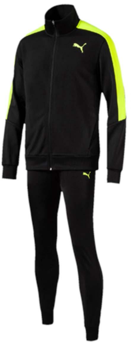 Костюм спортивный мужской Puma Line Suit Tricot, цвет: черный, желтый. 59088501. Размер M (48/50)59088501Спортивный костюм Line Suit Tricot идеален для занятий спортом и прогулок на свежем воздухе. Особый крой куртки гарантирует свободу движений и комфорт. Пояс и манжеты выполнены из плотного трикотажа в резинку. Куртка также снабжена практичной застежкой-молнией и боковыми карманами. Узкие брюки обеспечивают плотную посадку. Пояс брюк из эластичного материала снабжен затягивающимся шнуром. Манжеты по низу штанин выполнены из трикотажа в резинку. Куртка декорирована логотипом PUMA и контрастной отделкой на плечах. Брюки также декорированы логотипом PUMA.