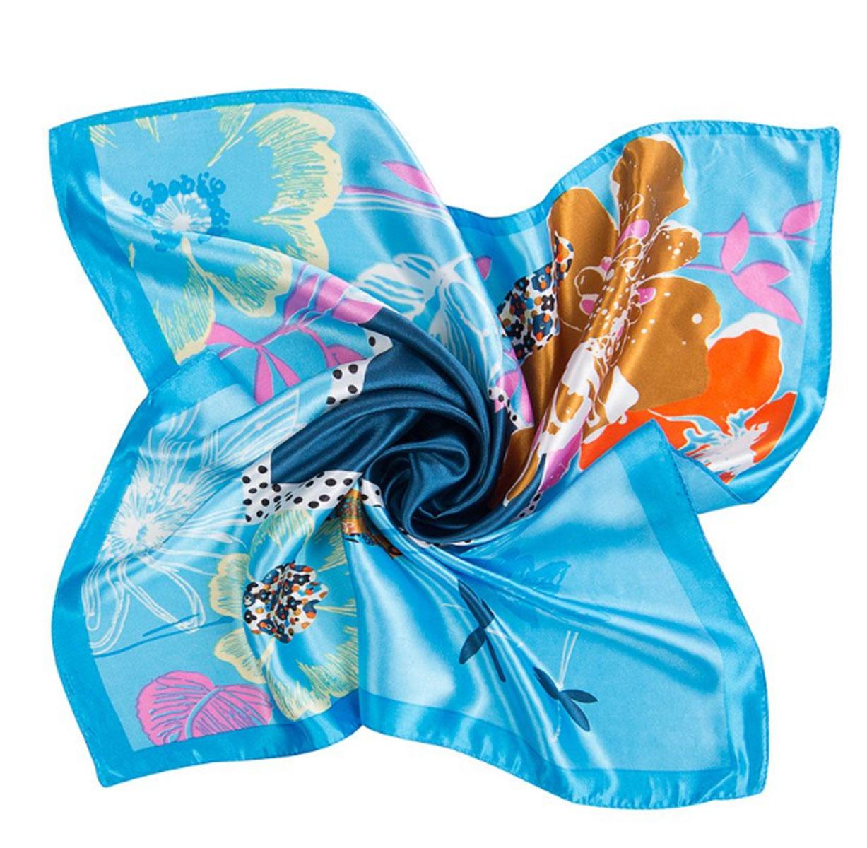 Платок женский Charmante, цвет: голубой. NEPA249. Размер 60 см х 60 смNEPA249Эффектный шейный платок со стилизованным живописным принтом. Придаст шик любому гардеробу в качестве шарфика или косынки.