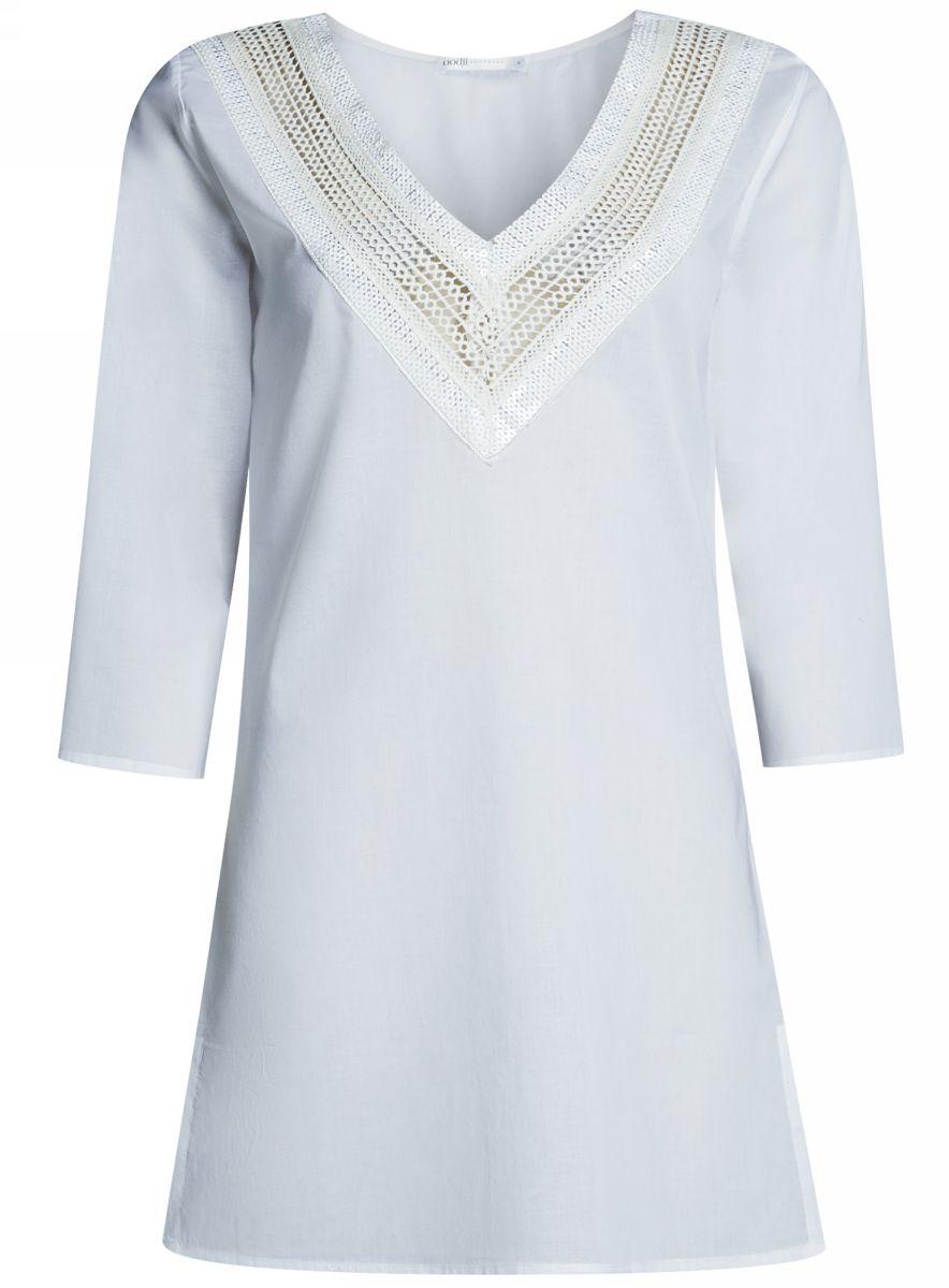 Платье домашнее59801016/46575/1000NДомашнее платье А-силуэта oodji Collection выполнено из натурального хлопка. Модель мини-длины с рукавами ? имеет V-образный вырез горловины, оформленный ажурным плетением и пайетками. Платье также отлично подходит для использования в качестве пляжной туники.