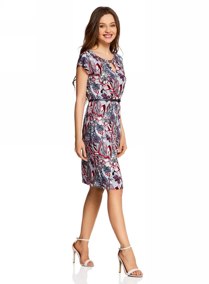 Платье oodji Collection, цвет: красный, темно-синий. 24008033-2/16300/4512F. Размер S (44-170)24008033-2/16300/4512FПлатье oodji Collection, выгодно подчеркивающее достоинства фигуры, выполнено из качественного трикотажа с оригинальным узором. Модель средней длины с круглым вырезом горловины и короткимирукавами оформлена вырезом-капелькой с декоративным элементом на груди.В комплект с платьемвходит узкий ремень из искусственной кожи с металлической пряжкой.