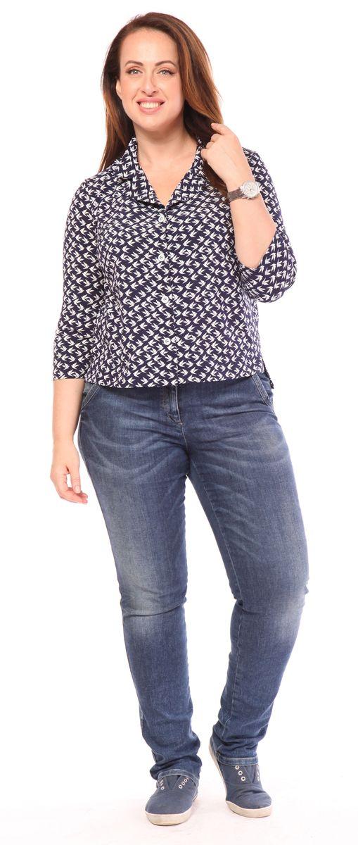 Блузка Milanika, цвет: синий. 21711. Размер 4621711Блузка от Milanika с коротким рукавом, выполнена из полиэстера с добавлением спандекса и оформлена принтом. Модель с отложным воротником застегивается спереди на пуговицы.