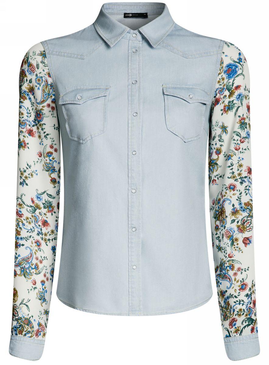Рубашка женская oodji Ultra, цвет: голубой. 16A09001-2/42706/7000W. Размер 40-170 (46-170)16A09001-2/42706/7000WСтильная джинсовая рубашка oodji Ultra выполнена из качественного комбинированного материала. Модель приталенного кроя с отложным воротничком и длинными рукавами застегивается на кнопки по всей длине и дополнена двумя накладными карманами с клапанами на кнопках. Рукава, оформленные цветочным принтом, дополнены джинсовыми манжетами с кнопками. Рубашка отлично подойдет для прогулок и дружеских встреч и будет отлично сочетаться с джинсами и брюками. Мягкая ткань на основе хлопка приятна на ощупь и комфортна в носке.