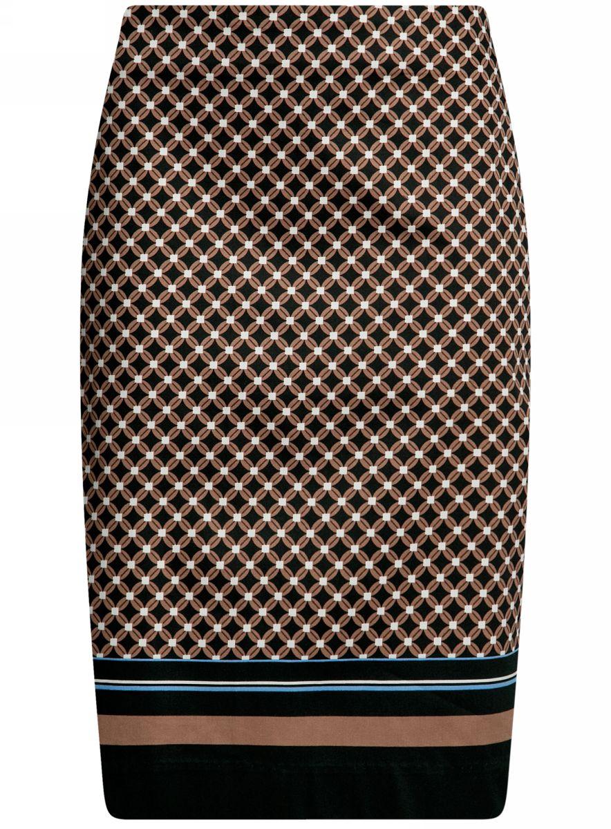 Юбка oodji Collection, цвет: коричневый. 21608006-5B/14522/3729G. Размер 38-170 (44-170)21608006-5B/14522/3729GСтильная юбка-карандаш прямого силуэта выполнена из высококачественного материала. Сзади модель застегивается на потайную застежку-молнию. Юбка оформлена оригинальным принтом.