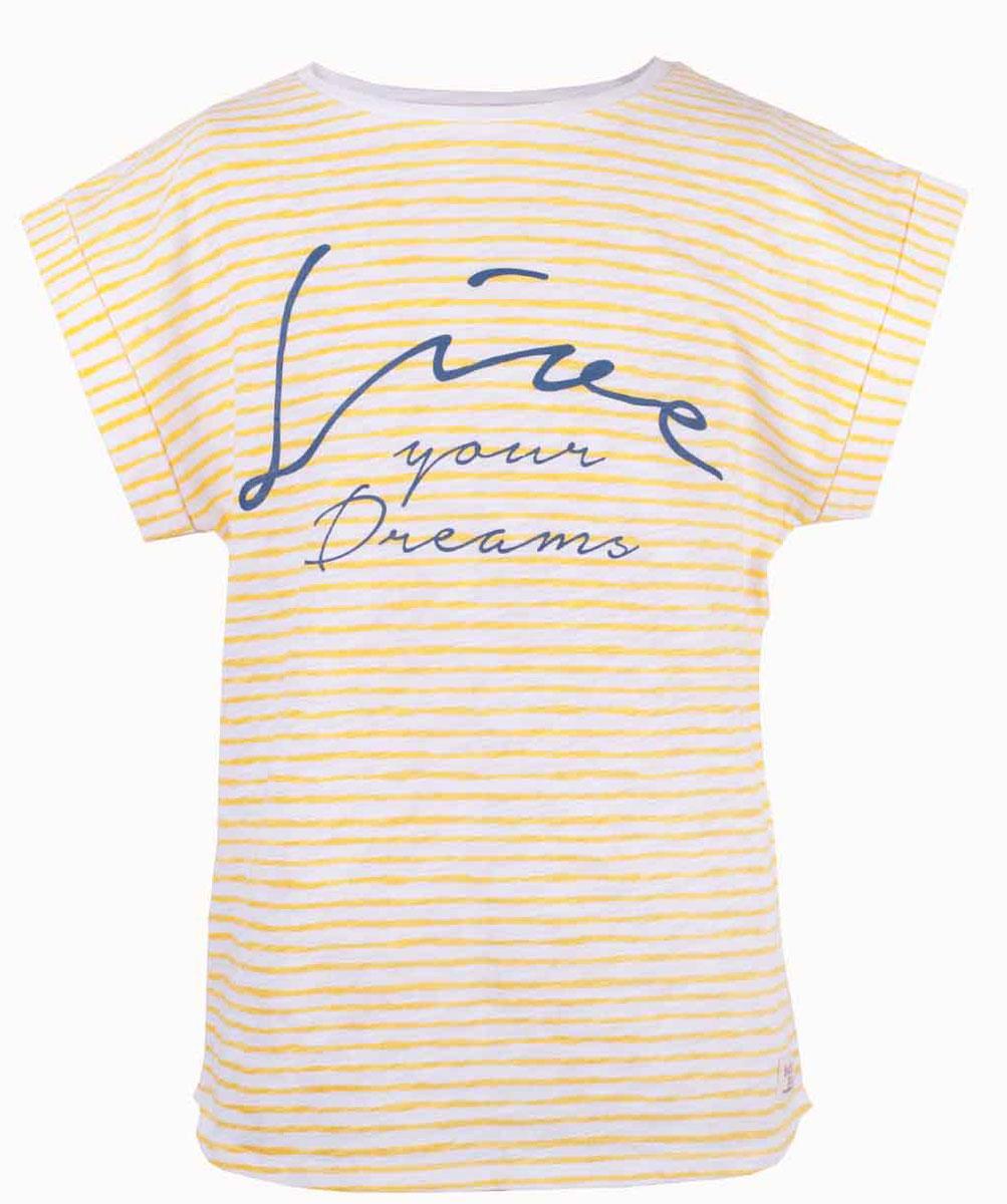 Футболка для девочки Button Blue Main, цвет: желтый. 117BBGC12022705. Размер 134, 9 лет117BBGC12022705Полосатая футболка - не только базовая вещь в гардеробе ребенка, но и залог хорошего летнего настроения. Если вы решили купить футболку для девочки, выберете модель футболки в полоску с оригинальным принтом, и ваш ребенок будет доволен.