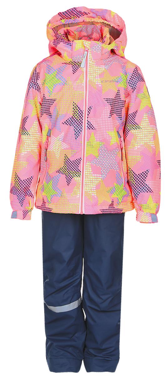 Комплект для девочки Icepeak: куртка, полукомбинезон, цвет: розовый, синий. 752000IVT_887. Размер 110752000IVT_887Комплект верхней детской одежды Icepeak состоит из куртки и полукомбинезона. Куртка с капюшоном застегивается на пластиковую молнию. На рукавах предусмотрены манжеты. Спереди расположены два врезных кармана на молниях. Оформлено изделие оригинальным принтом. Брюки спереди застегиваются на пластиковую молнию и кнопку. Модель дополнена эластичными наплечными лямками, регулируемыми по длине. На талии предусмотрена широкая резинка. На комплекте предусмотрены светоотражающие элементы.