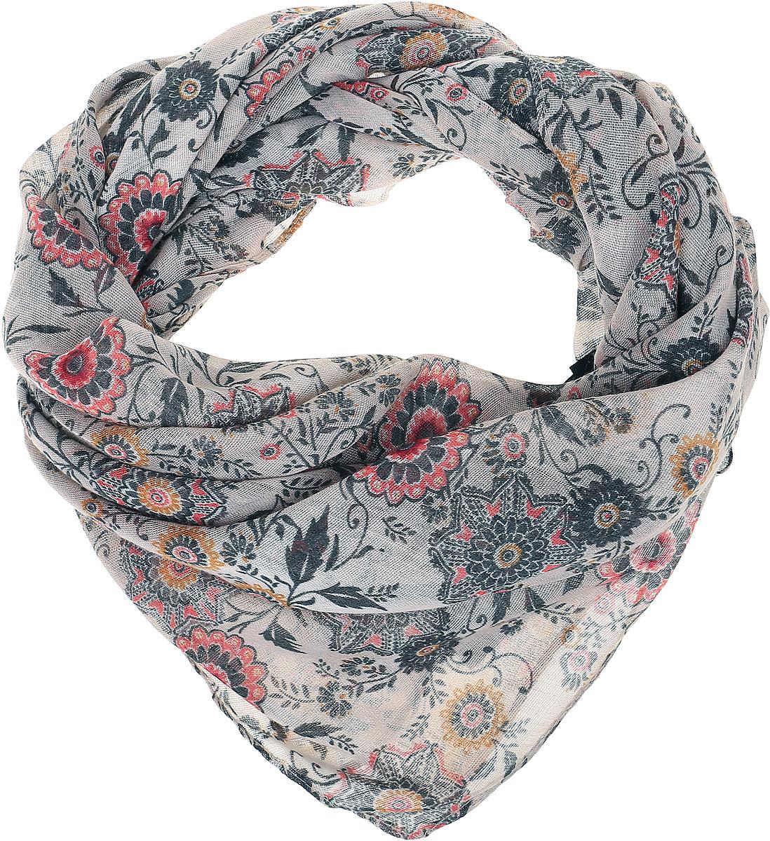 ПлатокRo02FC428-1/35-3Мягкий платок с принтом. Край – американка.