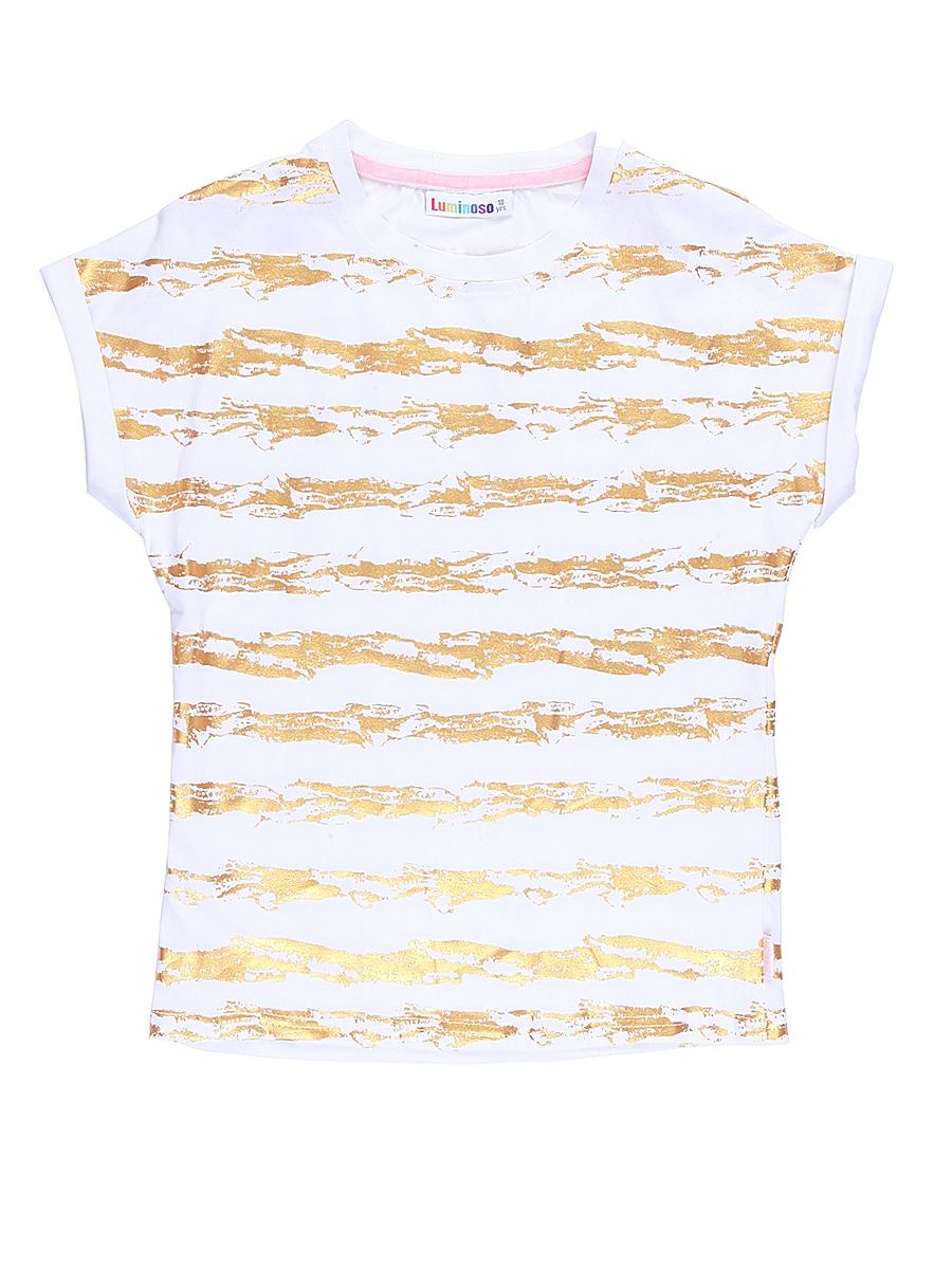 Футболка для девочки Luminoso, цвет: белый. 718076. Размер 152718076Стильная футболка из трикотажной ткани с коротким рукавом декорирована яркими золотыми полосами.