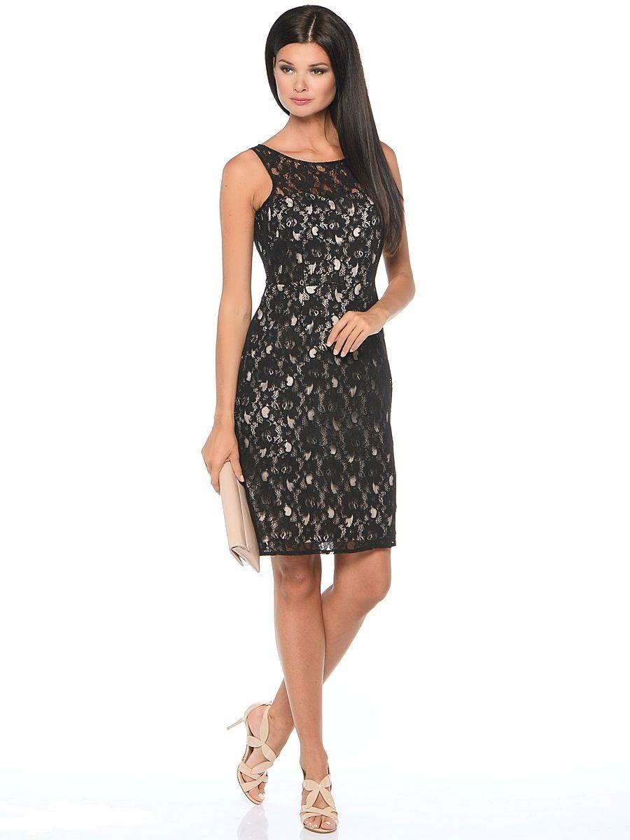 ПлатьеWD-2415VПлатье-чехол полуприлегающего силуэта, без рукавов, верхний слой- из гипюра.