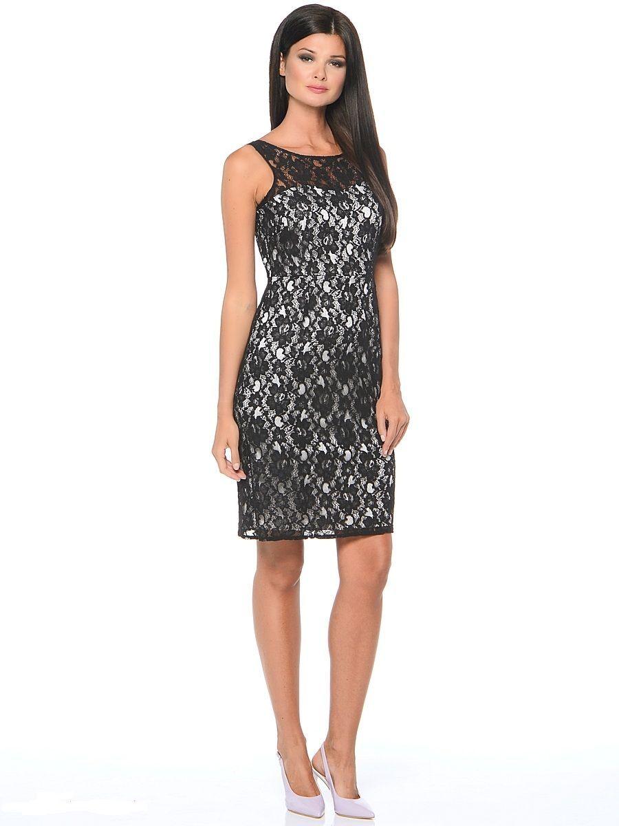 Платье Milton, цвет: черный, белый. WD-2415V. Размер 44WD-2415VПлатье-чехол полуприлегающего силуэта, без рукавов, верхний слой - из гипюра.