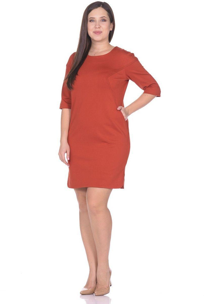 Платье Milton, цвет: терракотовый. WD-2615F. Размер 48WD-2615FПлатье со спущенной линией плеча, в нижней части рельефов - внутренние карманы. По низу боковых швов обработаны разрезы закругленной формы, рукав двухшовный длиной 1/2.