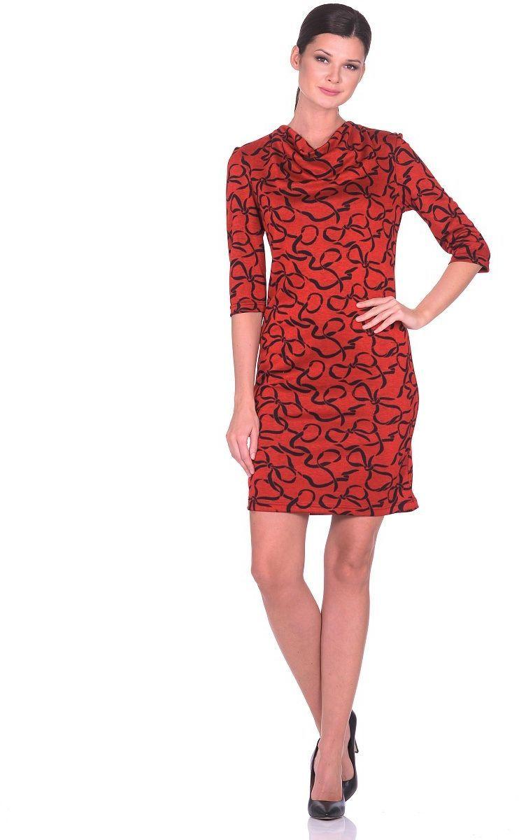 ПлатьеWD-2617FТрикотажное платье прямого силуэта с воротником-хомутом. Рукава втачные, длина -3/4.