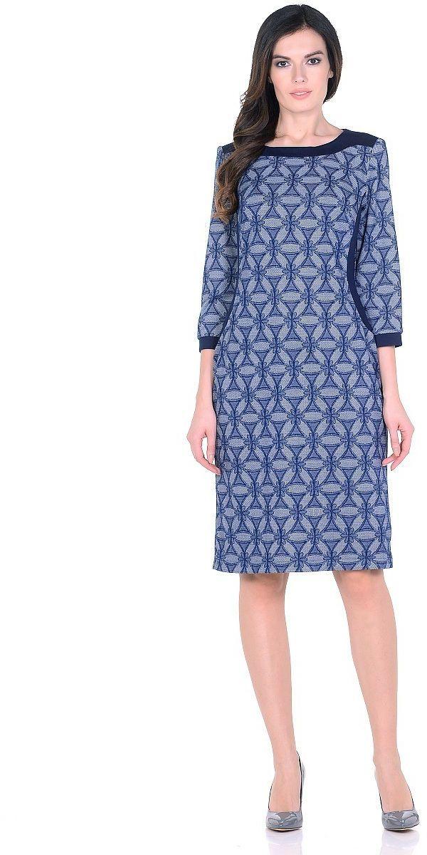 ПлатьеWD-2620FТрикотажное платье полуприлегающего силуэта, с отделочными деталями из контрастного однотонного трикотажа. Рукав - 3/4.