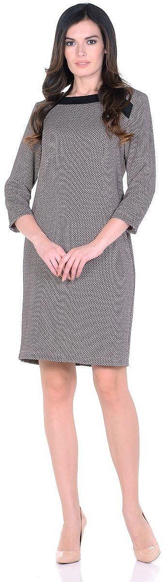 ПлатьеWD-2623FТрикотажное платье полуприлегающего силуэта, с отделочными деталями из контрастного однотонного трикотажа. Рукав - 3/4.