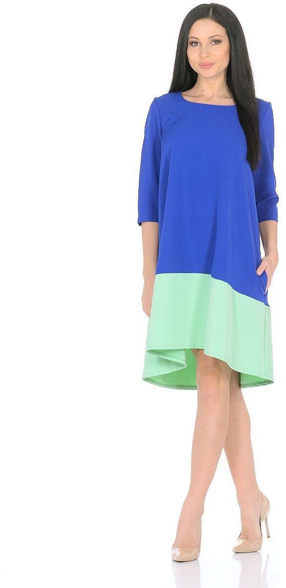 Платье Milton, цвет: синий, салатовый. WD-2626F. Размер 48WD-2626FПлатье А-образного силуэта, широкая кайма по низу - из контрастной ткани, рукав - 3/4.