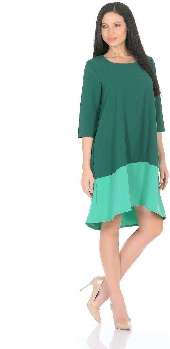 Платье Milton, цвет: зеленый, ментоловый. WD-2626F. Размер 48WD-2626FПлатье А-образного силуэта, широкая кайма по низу - из контрастной ткани, рукав - 3/4.
