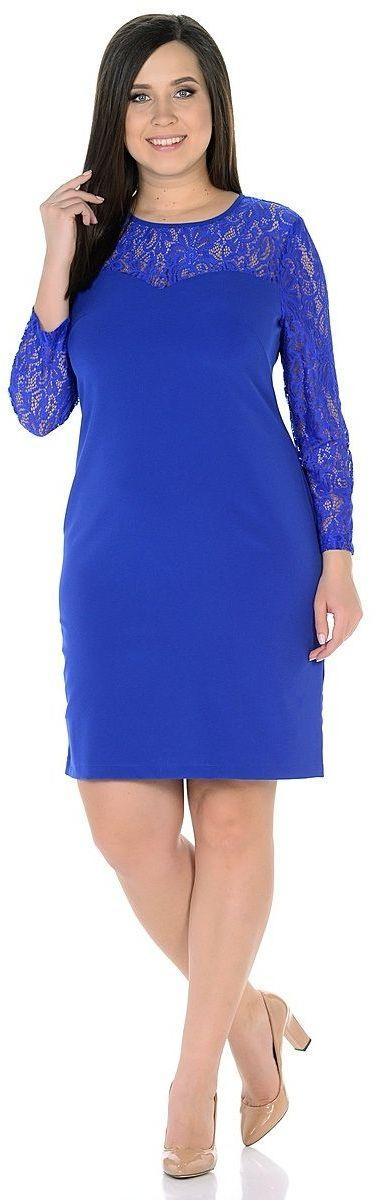 ПлатьеWD-2628FПлатье прямого силуэта, с втачными рукавами длиной 7/8 . Кокетки и рукава выполнены из гипюра.