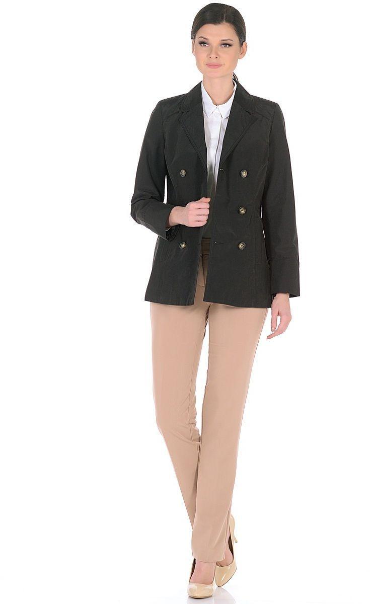 Жакет женский Milton, цвет: черный. WJ-1626V. Размер 50WJ-1626VДвубортная куртка-жакет с классическим английским воротником и застежкой на пуговицы. В бочках переда обработаны карманы с листочками.