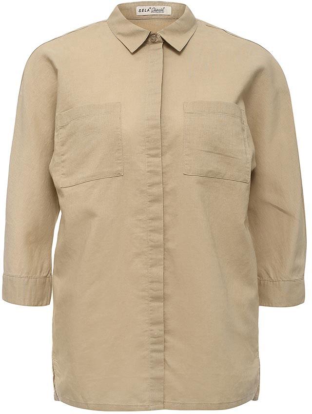 Рубашка женская Sela, цвет: бежевый. B-112/225-7244. Размер 44B-112/225-7244Стильная женская рубашка Sela выполнена из хлопка и льна. Модель прямого кроя с отложным воротничком застегивается на пуговицы, скрытые планкой, и дополнена двумя накладными карманами. Манжеты рукавов длиной 3/4 также дополнены пуговицами. Рубашка подойдет для прогулок и дружеских встреч и будет отлично сочетаться с джинсами и брюками, и гармонично смотреться с юбками. Мягкая ткань комфортна и приятна на ощупь.