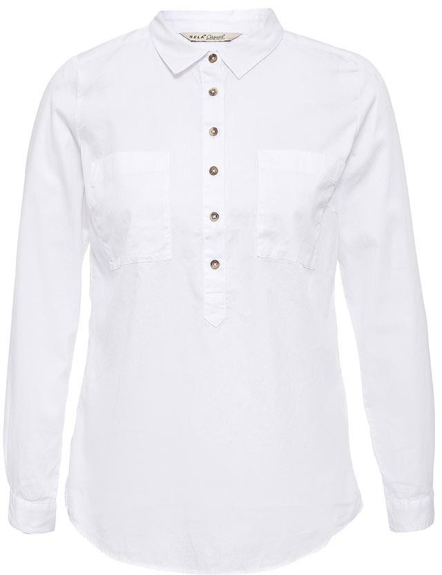 РубашкаB-112/526-7263Стильная женская рубашка Sela выполнена из натурального хлопка. Модель прямого кроя с удлиненной спинкой и отложным воротничком застегивается на пуговицы до середины груди и дополнена двумя накладными карманами. Манжеты длинных рукавов также дополнены пуговицами. Рубашка подойдет для офиса, прогулок и дружеских встреч и будет отлично сочетаться с джинсами и брюками, и гармонично смотреться с юбками. Мягкая ткань комфортна и приятна на ощупь.