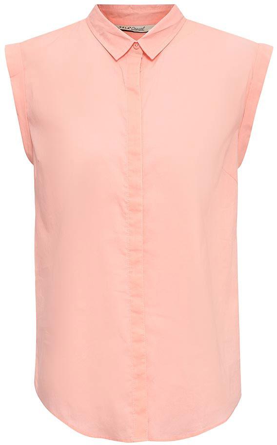 Блузка женская Sela, цвет: пепельно-персиковый. Bs-112/1262-7263. Размер 46Bs-112/1262-7263Оригинальная женская блузка Sela выполнена из натурального хлопка. Модель прямого кроя с отложным воротничком и короткими цельнокроеными рукавами застегивается на пуговицы, скрытые планкой. Блузка подойдет для офиса, прогулок и дружеских встреч и будет отлично сочетаться с джинсами и брюками, и гармонично смотреться с юбками. Мягкая ткань комфортна и приятна на ощупь.
