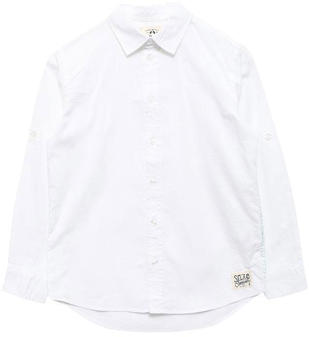 РубашкаH-812/204-7213Классическая рубашка для мальчика Sela выполнена из натурального хлопка. Модель прямого кроя с удлиненной спинкой и отложным воротничком застегивается на пуговицы. Манжеты рукавов также застегиваются на пуговицы. Длинные рукава можно подвернуть и зафиксировать при помощи хлястиков на пуговицах.