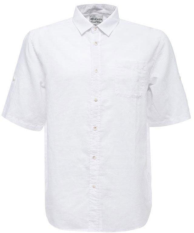 Рубашка мужская Sela, цвет: белый. Hs-212/753-7224. Размер 39 (44)Hs-212/753-7224Стильная мужская рубашка Sela выполнена из хлопка с добавлением льна. Модель прямого кроя с рукавами до локтя и отложным воротничком застегивается на пуговицы и дополнена накладным карманом на груди. Рукава можно подвернуть и зафиксировать при помощи хлястиков на пуговицах.Универсальный цвет позволяет сочетать модель с любой одеждой.