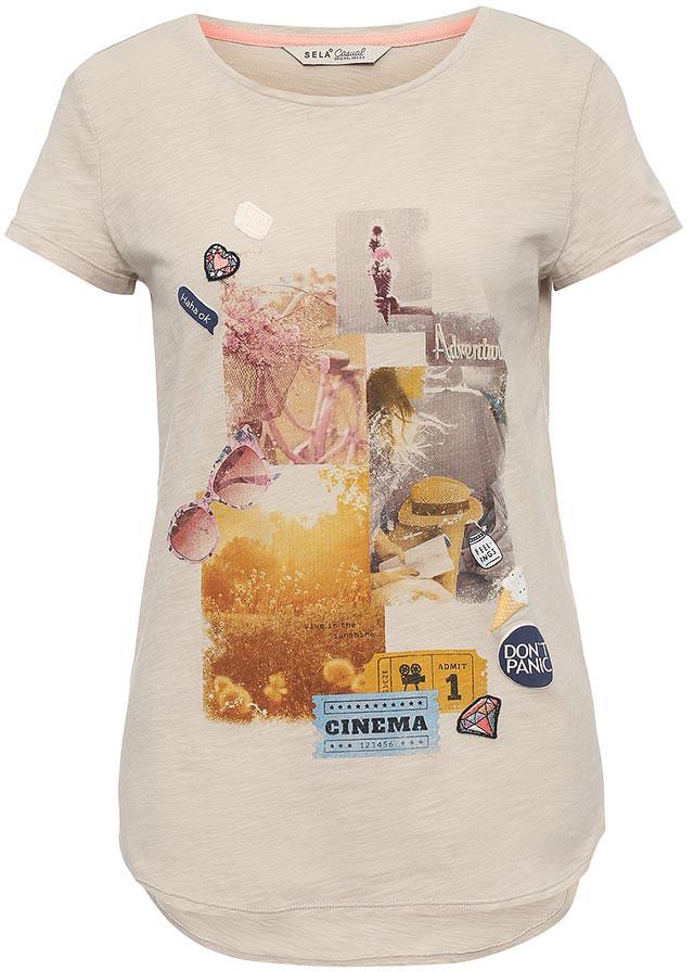 ФутболкаTs-311/1132-7213Оригинальная женская футболка Sela станет отличным дополнением к гардеробу каждой модницы. Модель полуприлегающего силуэта с удлиненной спинкой изготовлена из натурального хлопка и оформлена ярким принтом. Универсальный цвет позволяет сочетать модель с любой одеждой.
