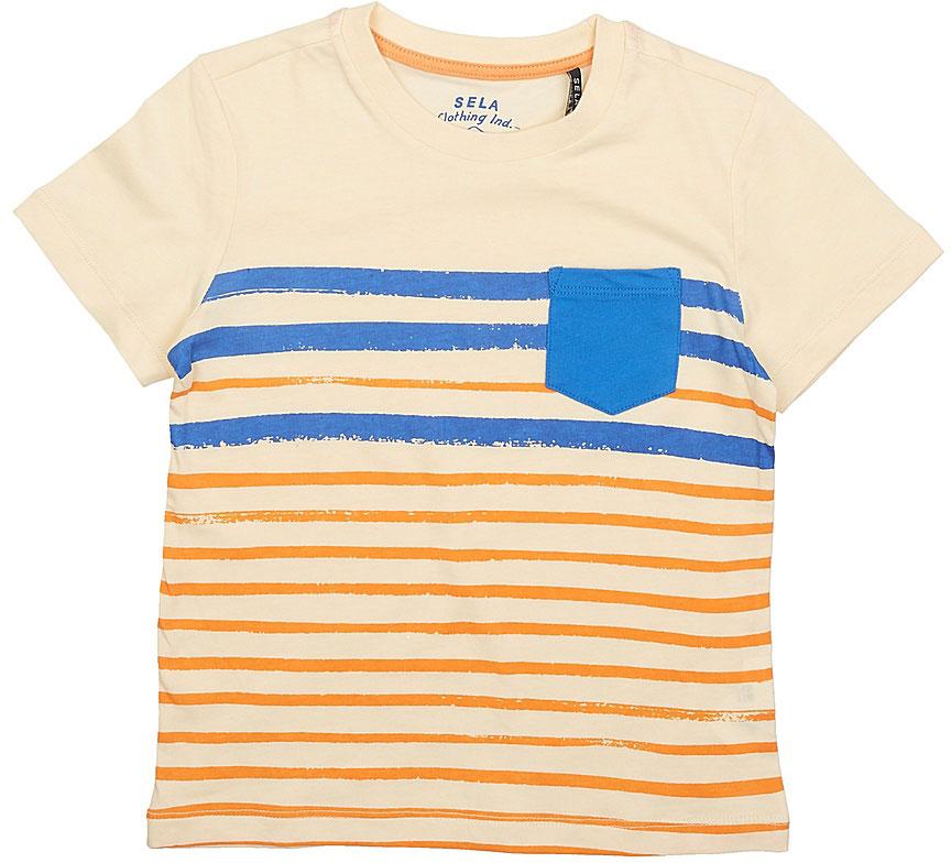 ФутболкаTs-711/184-7214Стильная футболка для мальчика Sela изготовлена из натурального хлопка. Полочка оформлена принтом в полоску и накладным кармашком контрастного цвета, спинка однотонная. Воротник дополнен мягкой трикотажной резинкой. Яркий цвет модели позволяет создавать модные образы.