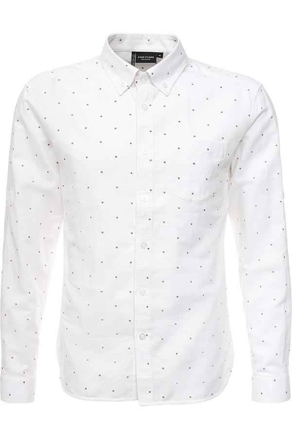 Рубашка мужская Finn Flare, цвет: белый. S17-21026_201. Размер S (46)S17-21026_201Рубашка мужская Finn Flare выполнена из льна и хлопка. Модель с отложным воротником и длинными рукавами застегивается на пуговицы.