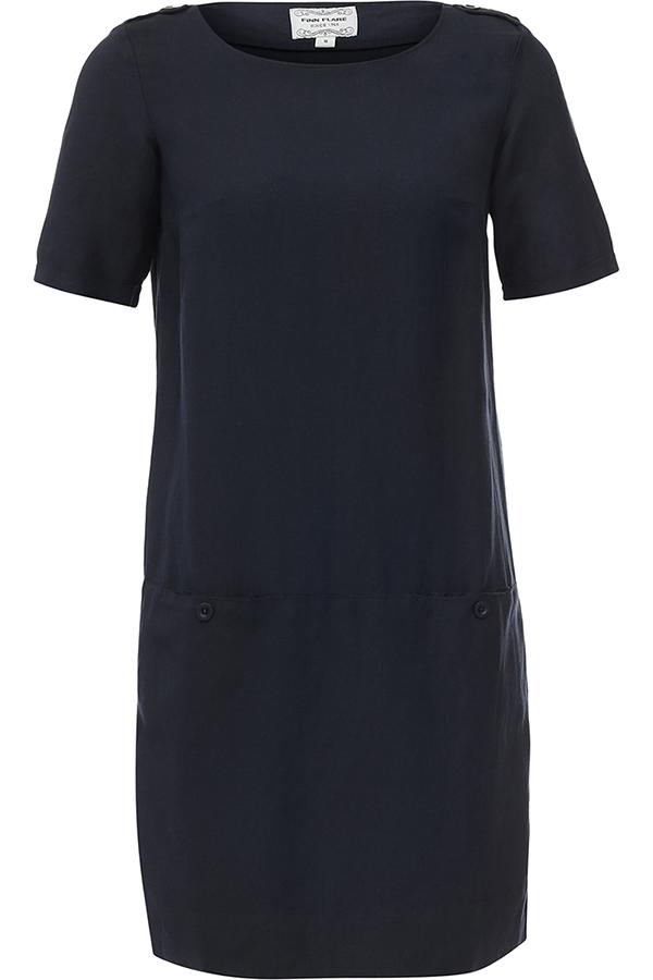 ПлатьеS17-11040_317Платье Finn Flare выполнена из льна и вискозы. Модель с круглым вырезом горловины и короткими рукавами.