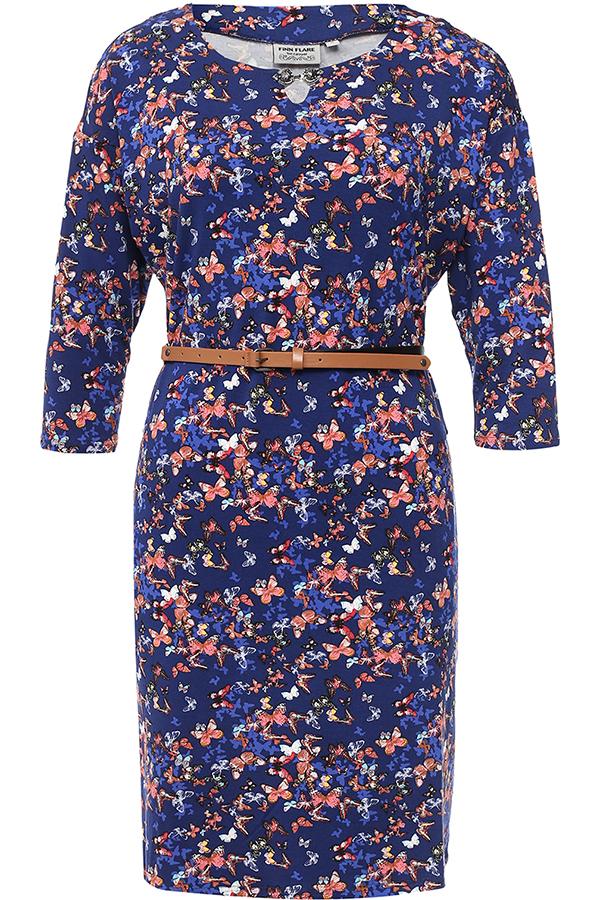 Платье Finn Flare, цвет: темно-синий. B17-12071_101. Размер L (48)B17-12071_101Платье Finn Flare выполнено из вискозы и эластана. Модель с круглым вырезом горловины и рукавами 3/4.