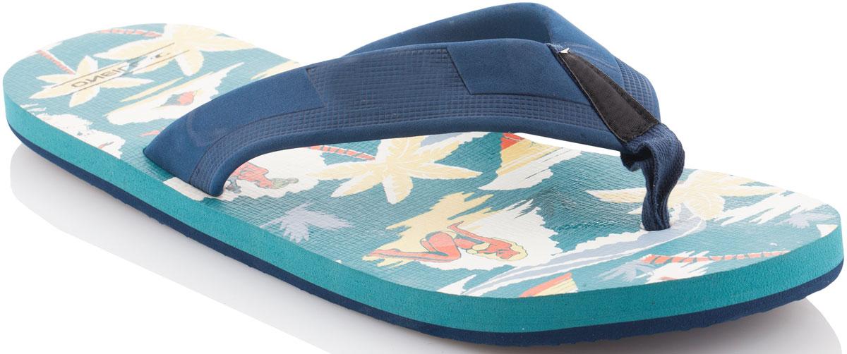 Сланцы мужские ONeill Fm Imprint Pattern Flip Flops, цвет: зеленый. 7A4522-6930. Размер 41 (40)7A4522-6930Сланцы от ONeill незаменимы для пляжного сезона. Модель выполнена из качественного полимерного материала. Перемычка между пальцами отвечает за надежную фиксацию модели на ноге. Удобная подошва выполнена в ярких цветах. Эффектные сланцы помогут вам создать яркий, запоминающийся образ.