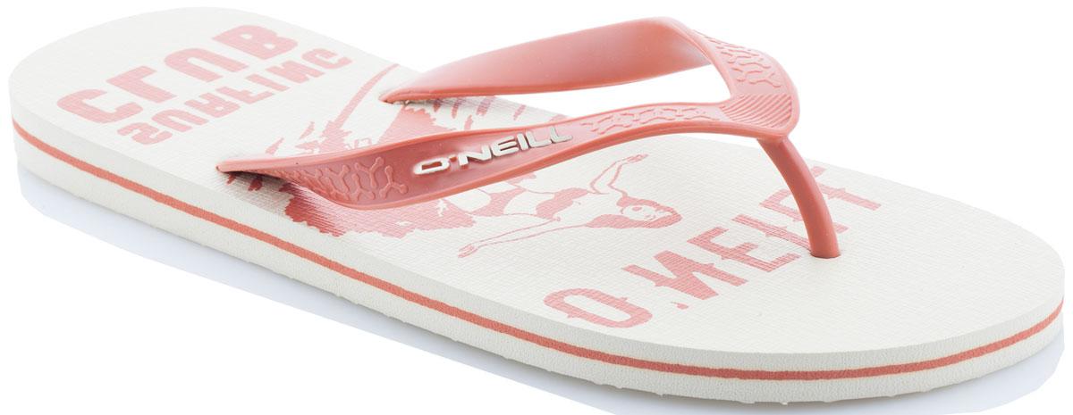 Сланцы мужские ONeill Fm Profile Graphic Flip Flops, цвет: бежевый. 7A4530-1082. Размер 43 (42)7A4530-1082Сланцы от ONeill незаменимы для пляжного сезона. Модель выполнена из качественного полимерного материала. Перемычка между пальцами отвечает за надежную фиксацию модели на ноге. Удобная подошва оформлена оригинальным принтом.