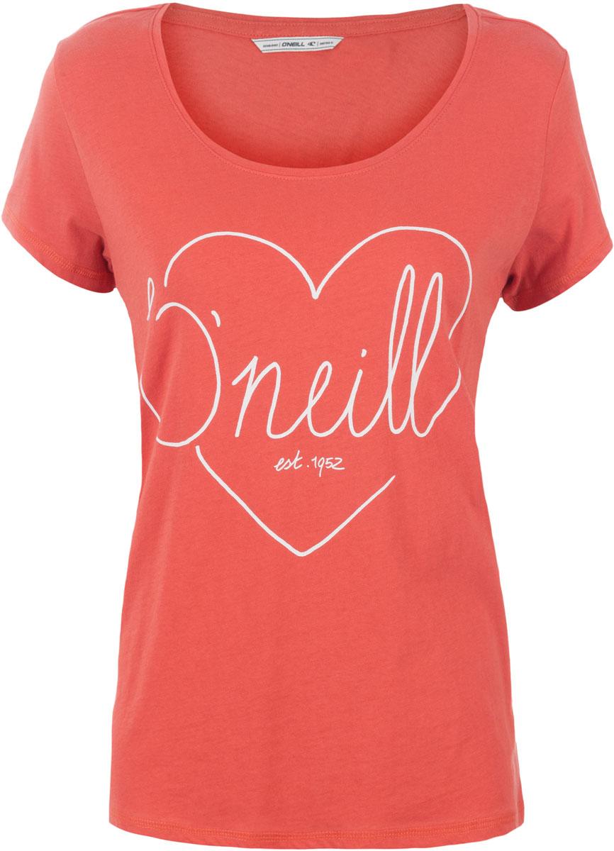 Футболка женская ONeill Lw Heart Graphic T-Shirt, цвет: оранжевый. 7A8618-3082. Размер M (46/48)7A8618-3082Футболка женская ONeill выполнена из 100% хлопка. Модель имеет стандартный крой, короткий рукав и круглый вырез горловины. Футболка дополнена рисунком в виде сердца и надписями.