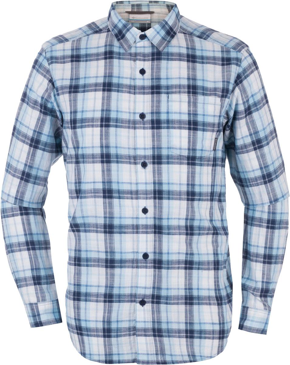 Рубашка1715231-265Мужская рубашка Columbia Under Exposure LS изготовлена из натурального хлопка. Модель Regular Fit с отложным воротником и длинными рукавами застегивается на пуговицы. Спереди расположен нагрудный карман. Изделие оформлено принтом в клетку.