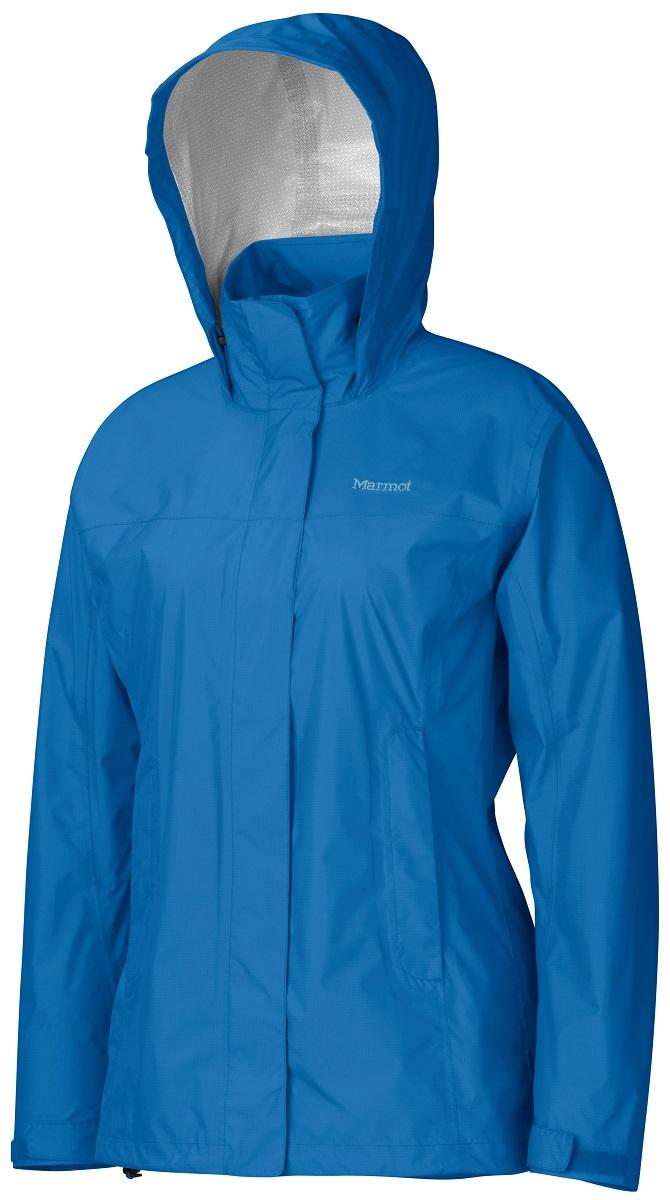 Дождевик женский Marmot Wms PreCip Jacket, цвет: синий. 46200-2421. Размер L(50/52)46200-2421Дождевик Wm`s PreCip Jacket создан специально для женщин. Бесспорный хит продаж. Этот легкий дождевик не подведет вас и защитит от дождя и влаги летом и в межсезонье. Технология PreCip™ Dry Touch - водостойкий, дышащий материал, 100% водонепроницаемые швы, капюшон имеет возможность хорошего обзора и при необходимости убирается в воротник - двусторонние молнии в районе подмышек обеспечивают отличную вентиляцию. Низ куртки регулируется эластичным шнуром – для универсальности в любую непогоду.
