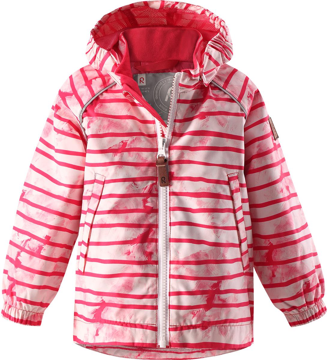 Куртка детская Reima Hihitys, цвет: розовый. 5112363366. Размер 985112363366Водоотталкивающая и простая в уходе демисезонная куртка для малышей. Все основные швы проклеены, так что внутрь не просочится ни одна дождинка. Ветронепроницаемый материал имеет грязеотталкивающую поверхность. Гладкая и удобная подкладка из полиэстера облегчает надевание и не намокает от пота. Съемный капюшон защищает от пронизывающего ветра и безопасен во время игр на свежем воздухе. В куртке предусмотрены два кармана и светоотражающие детали.